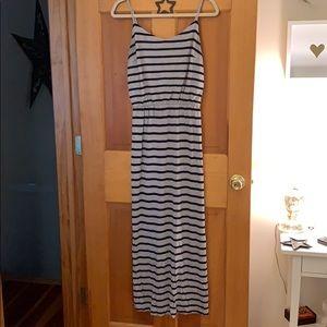 Gap grey and navy stripped maxi dress
